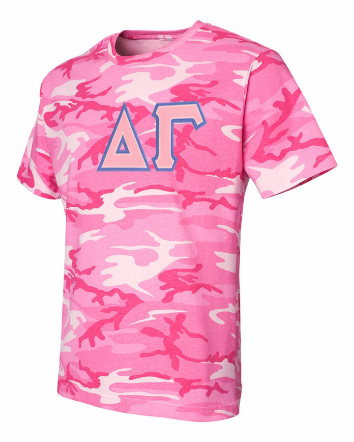 DISCOUNT-Delta Gamma Lettered Camouflage T-Shirt