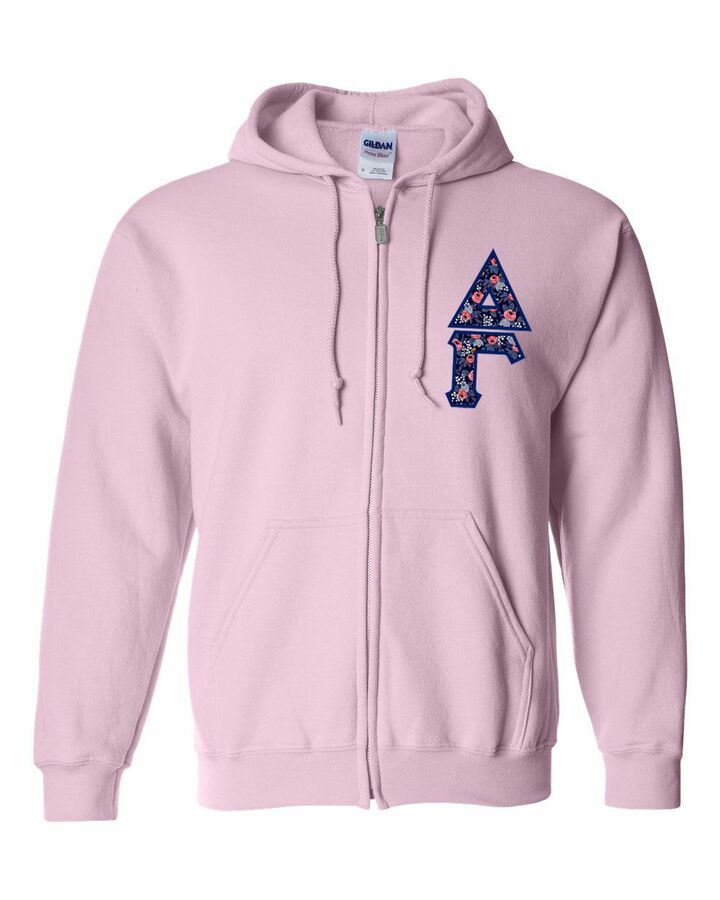 """Delta Gamma Lettered Heavy Full-Zip Hooded Sweatshirt (3"""" Letters)"""