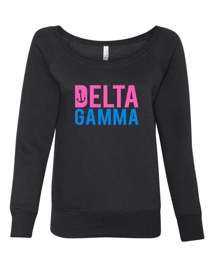 Delta Gamma Pink & Blue Fleece Wideneck Sweatshirt