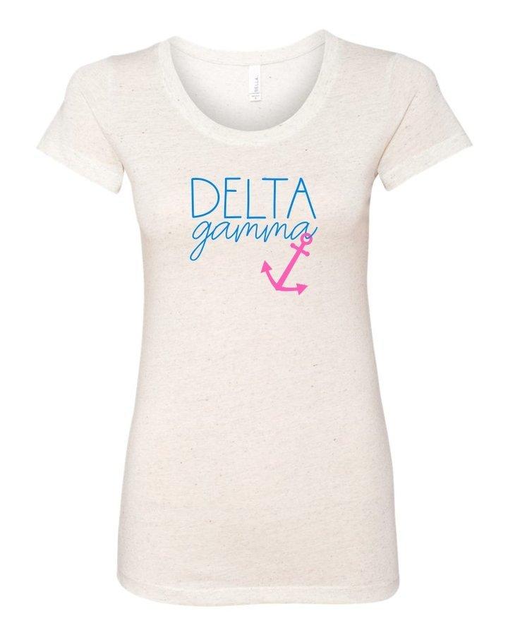 Delta Gamma Script Anchor Triblend Short Sleeve T-Shirt