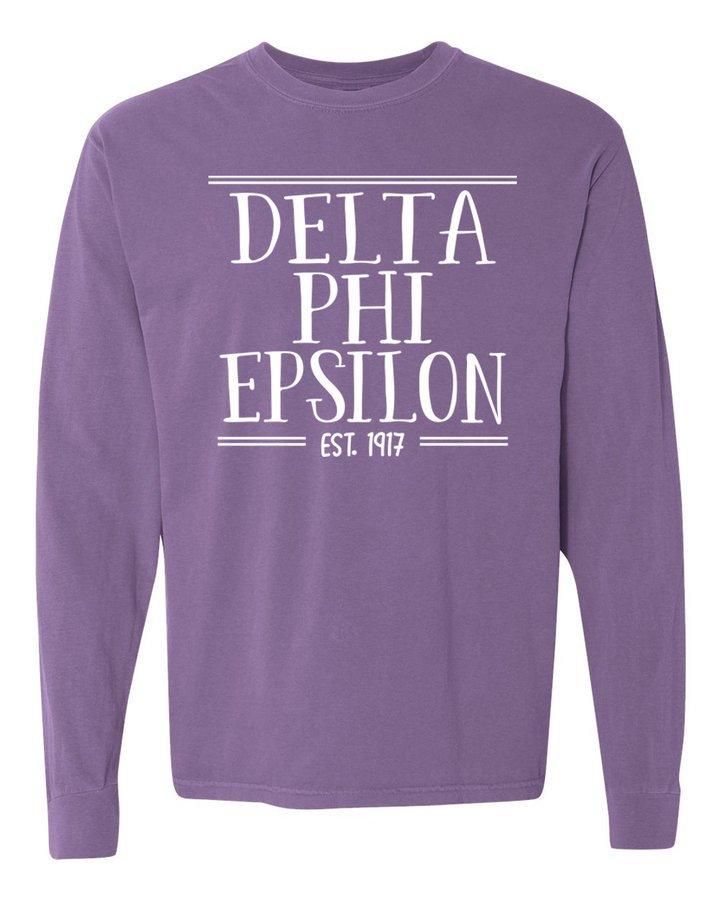 delta phi epsilon comfort colors established long sleeve t. Black Bedroom Furniture Sets. Home Design Ideas