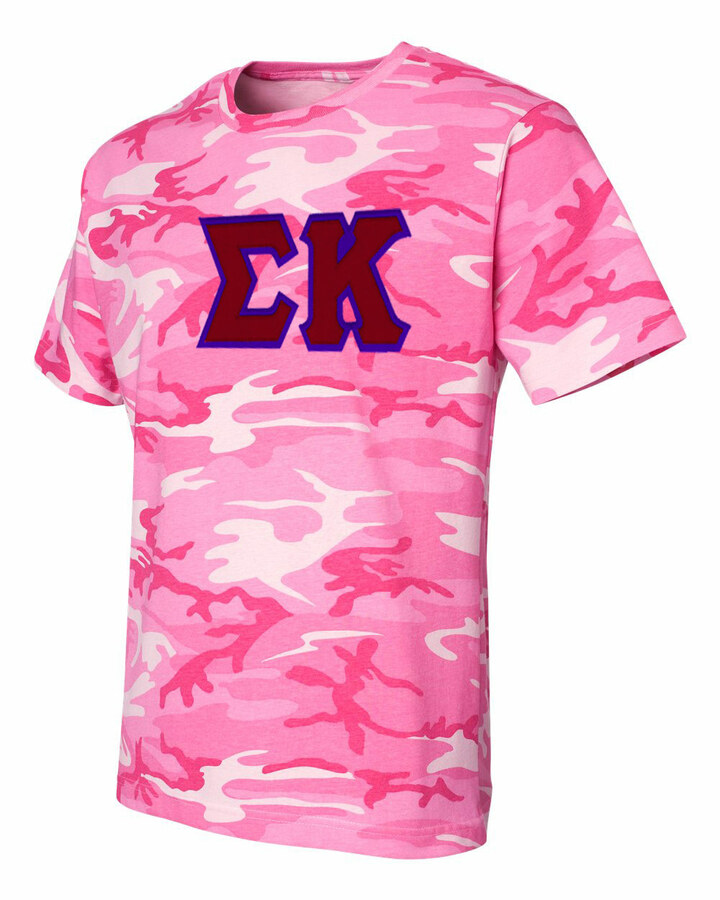 DISCOUNT-Sigma Kappa Lettered Camouflage T-Shirt