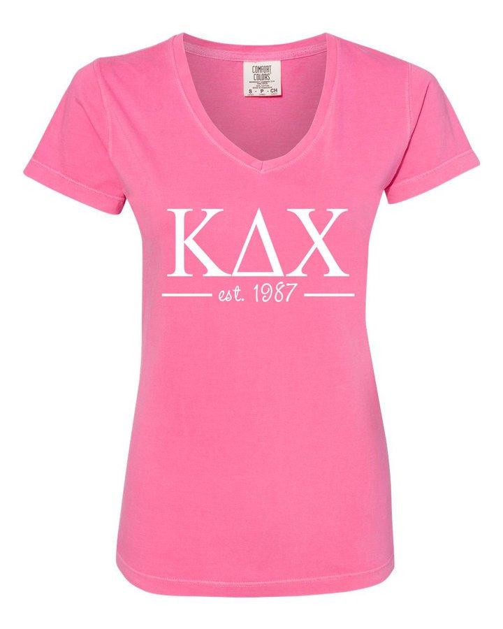 Kappa Delta Chi Comfort Colors Custom V-Neck T-Shirt