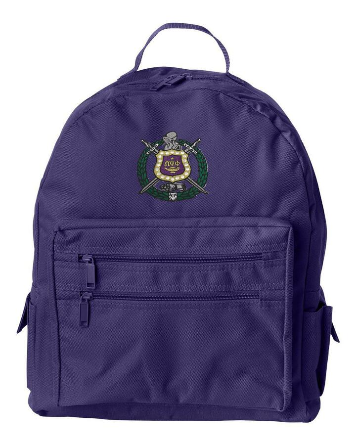 DISCOUNT-Omega Psi Phi Crest - Shield Recycled Backpack