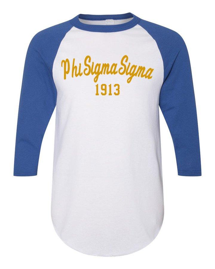 Phi Sigma Sigma Script Established Raglan
