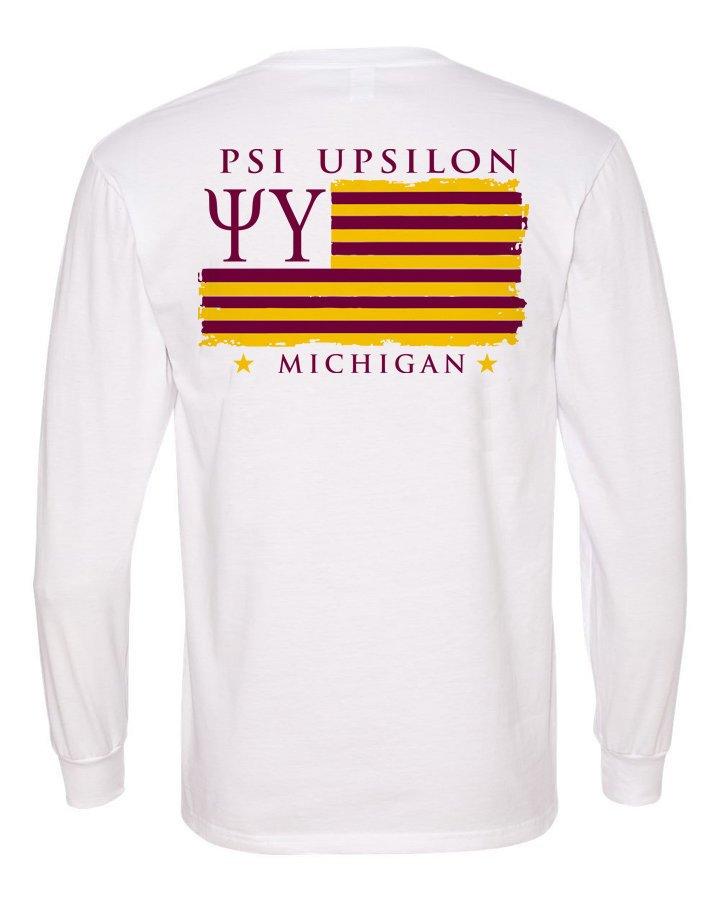Psi Upsilon Flag Long Sleeve T-shirt - Comfort Colors
