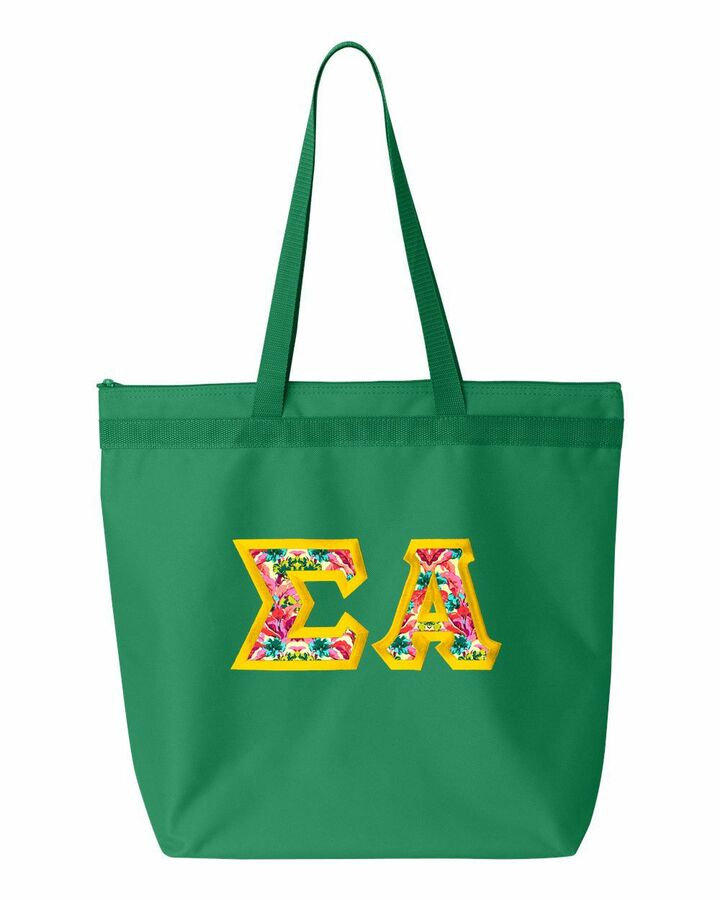 Sigma Alpha Custom Satin Stitch Tote Bag