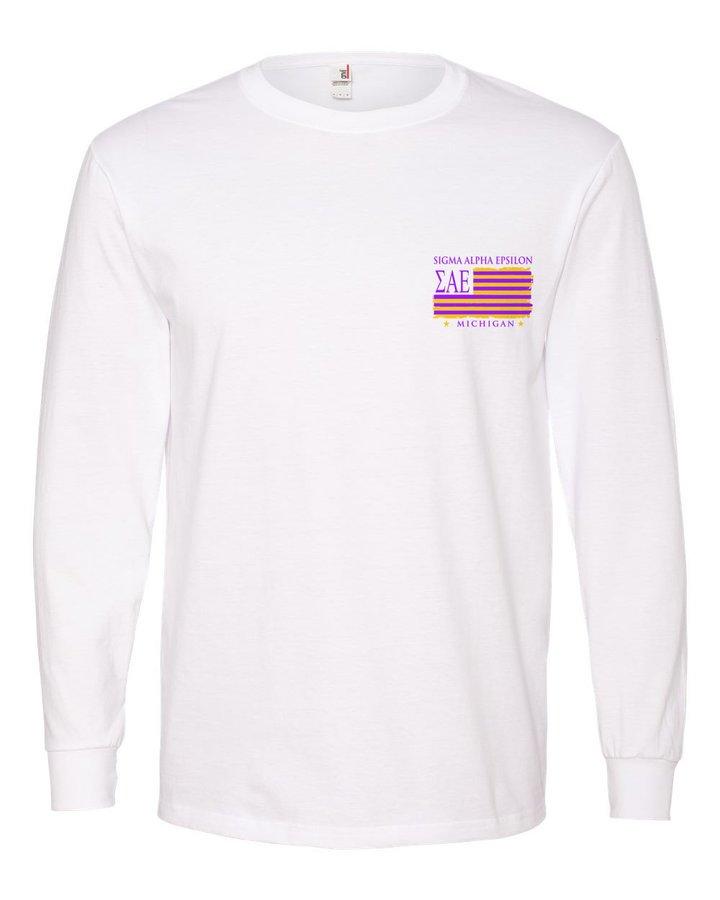 Sigma Alpha Epsilon Stripes Long Sleeve T-shirt