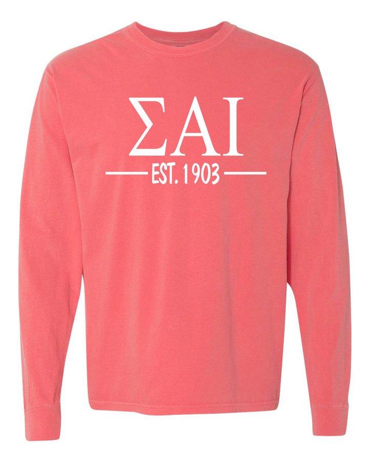 Sigma Alpha Iota Custom Greek Lettered Long Sleeve T-Shirt - Comfort Colors