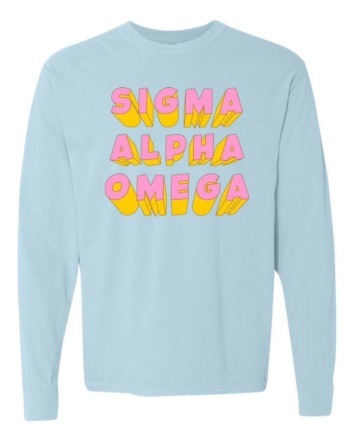 Sigma Alpha Omega 3Delightful Long Sleeve T-Shirt - Comfort Colors