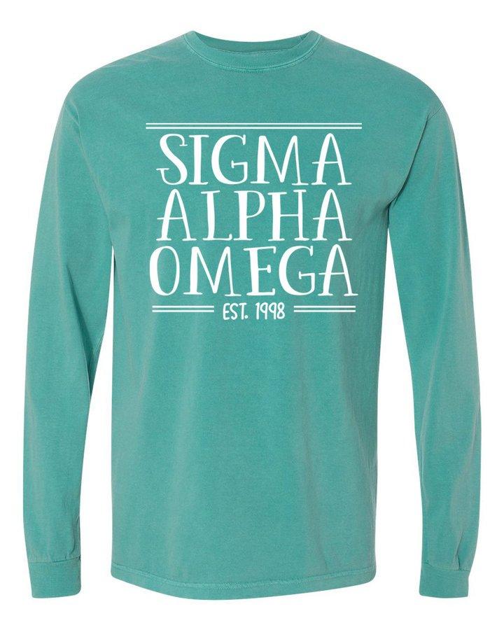 Sigma Alpha Omega Comfort Colors Custom Long Sleeve T-Shirt