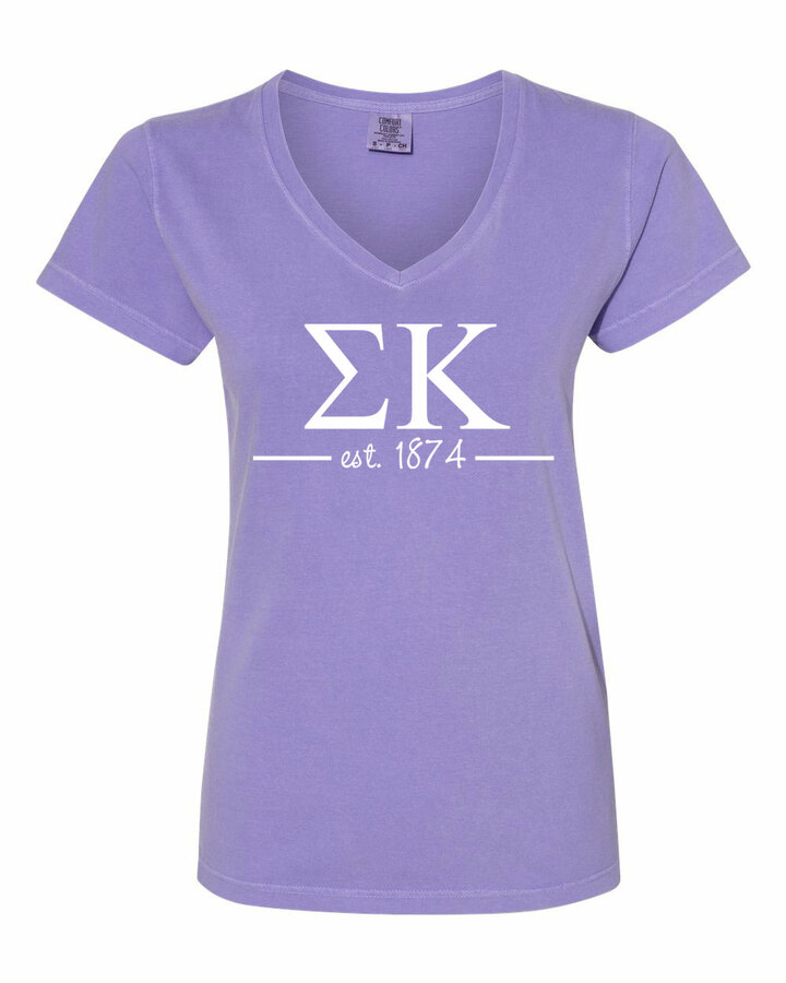 Sigma Kappa Comfort Colors Custom V-Neck T-Shirt