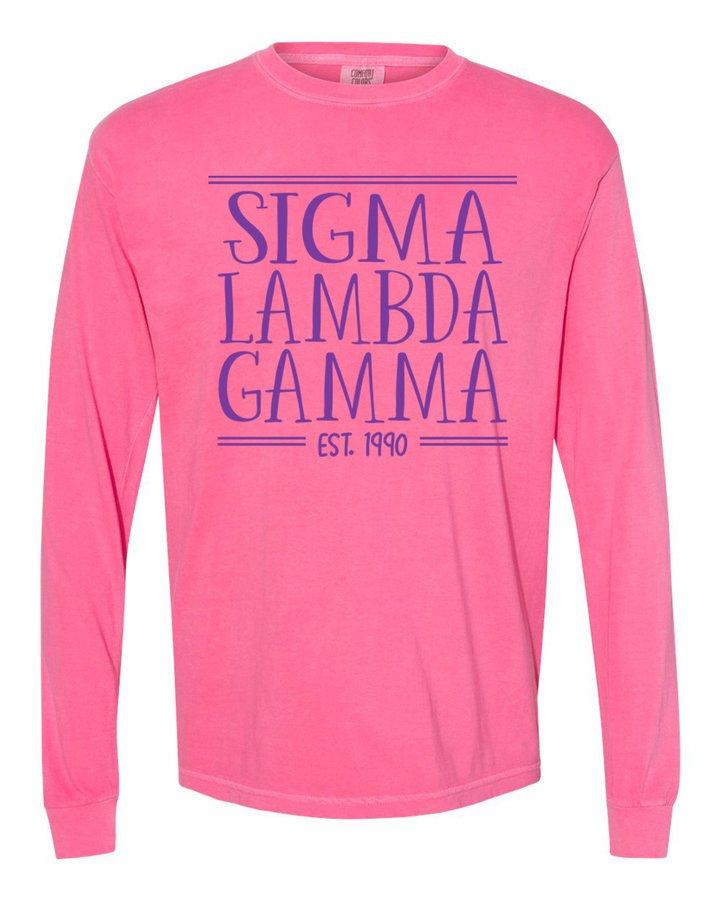 Sigma Lambda Gamma Comfort Colors Custom Long Sleeve T-Shirt