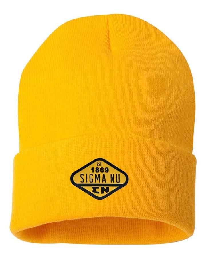 DISCOUNT-Sigma Nu Woven Emblem Knit Cap
