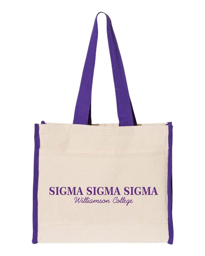 Sigma Sigma Sigma Tote with Contrast-Color Handles