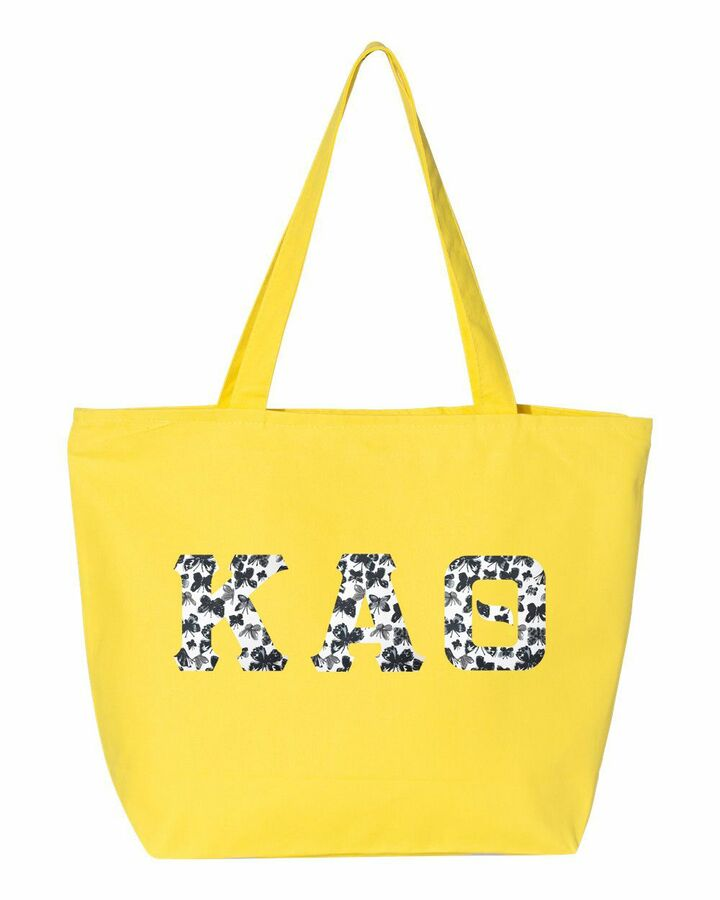 Sorority Greek Letter Zipper Tote