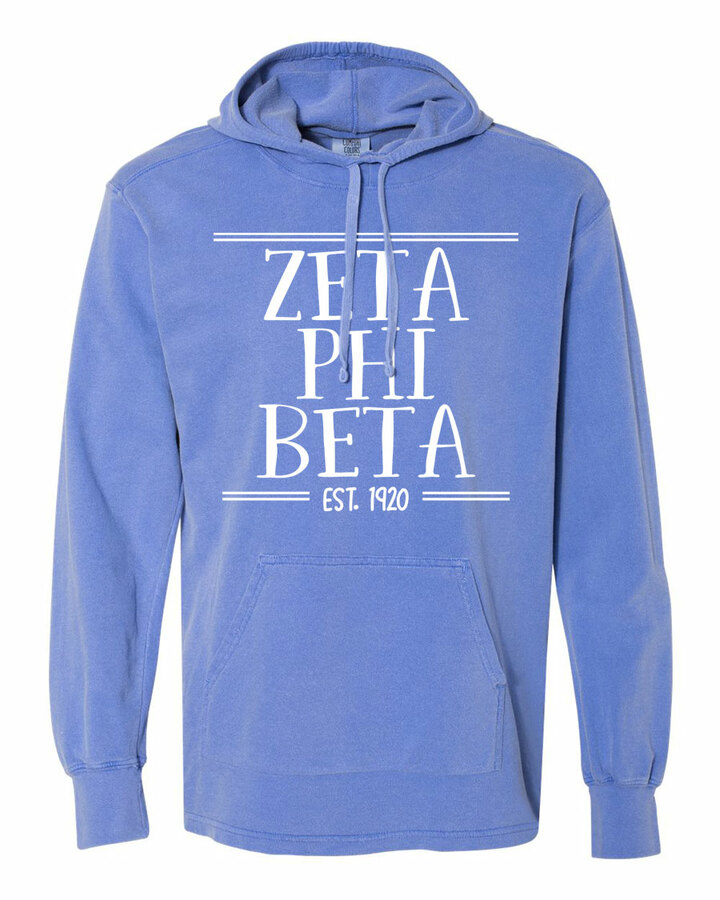 Zeta Phi Beta Comfort Colors Terry Scuba Neck Custom Hooded Pullover