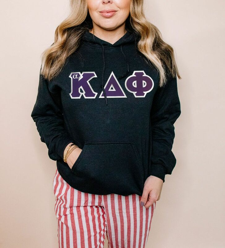 DISCOUNT alpha Kappa Delta Phi Lettered Hooded Sweatshirt