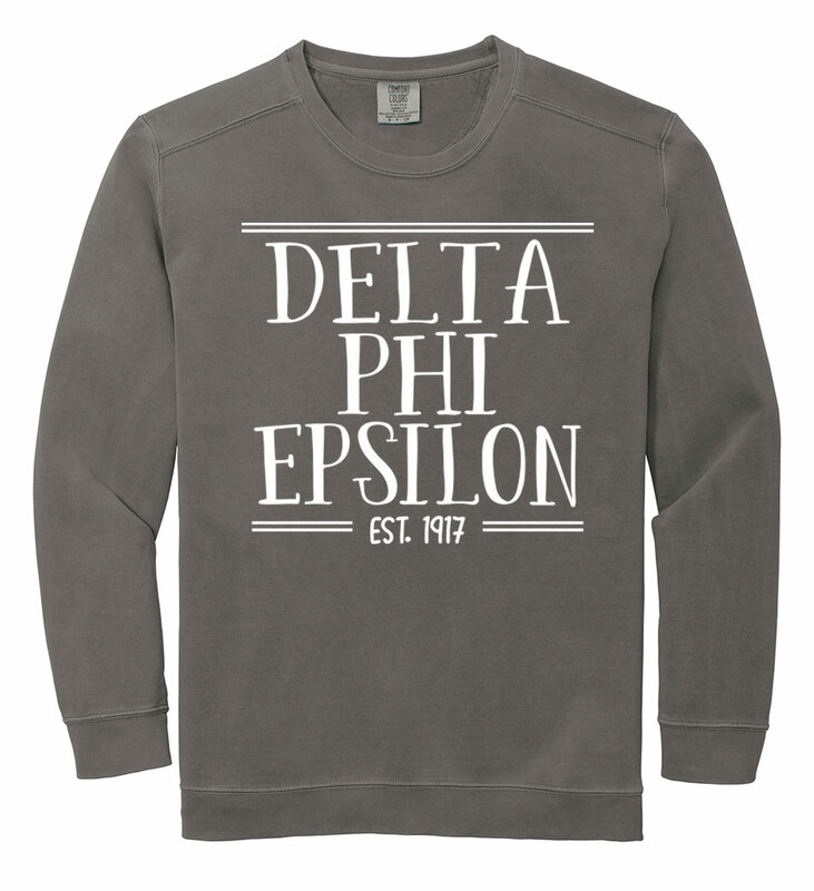 delta phi epsilon comfort colors established crewneck. Black Bedroom Furniture Sets. Home Design Ideas