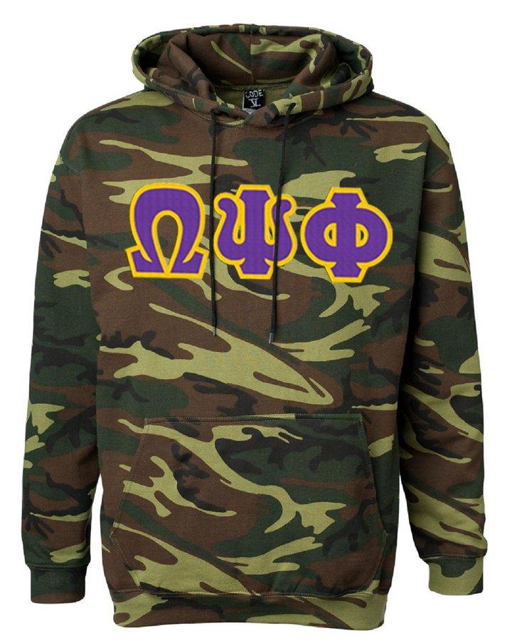 DISCOUNT-Omega Psi Phi Camo Pullover Hooded Sweatshirt
