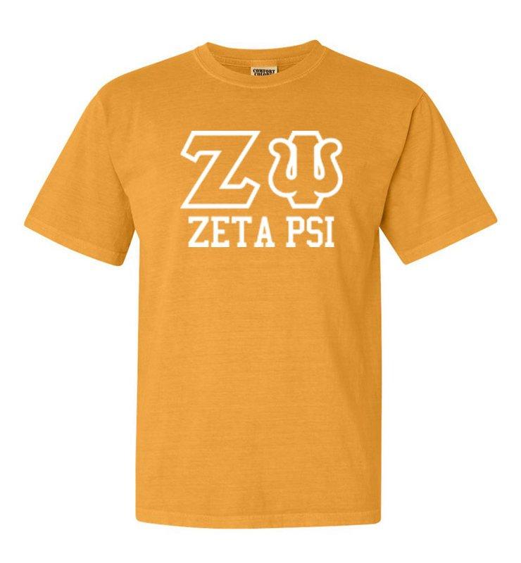 Zeta Psi Greek Outline Comfort Colors Heavyweight T-Shirt