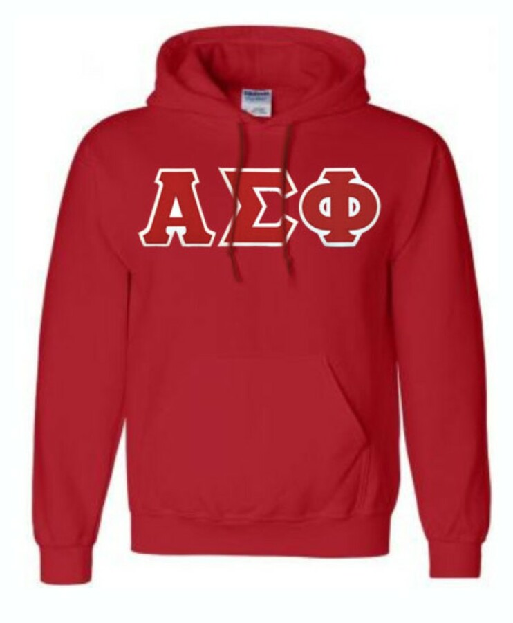 DISCOUNT Alpha Sigma Phi Lettered Hooded Sweatshirt