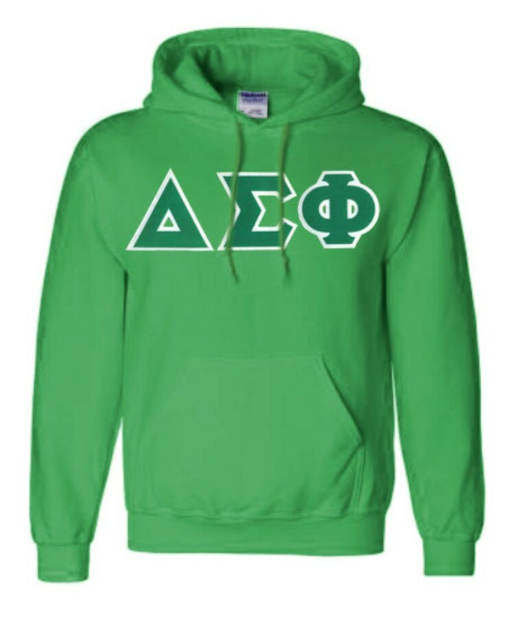 DISCOUNT Delta Sigma Phi Lettered Hooded Sweatshirt