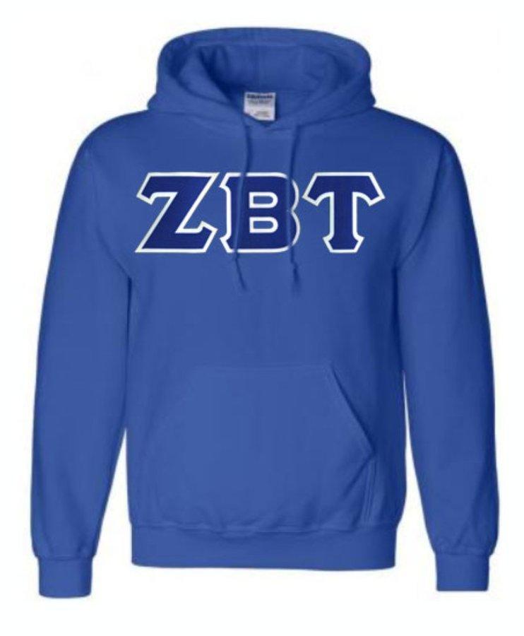 DISCOUNT Zeta Beta Tau Lettered Hooded Sweatshirt