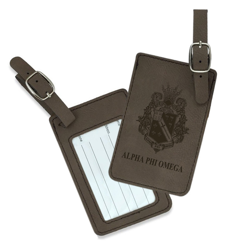 Alpha Phi Omega Crest Leatherette Luggage Tag