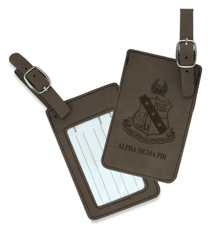 Alpha Sigma Phi Crest Leatherette Luggage Tag