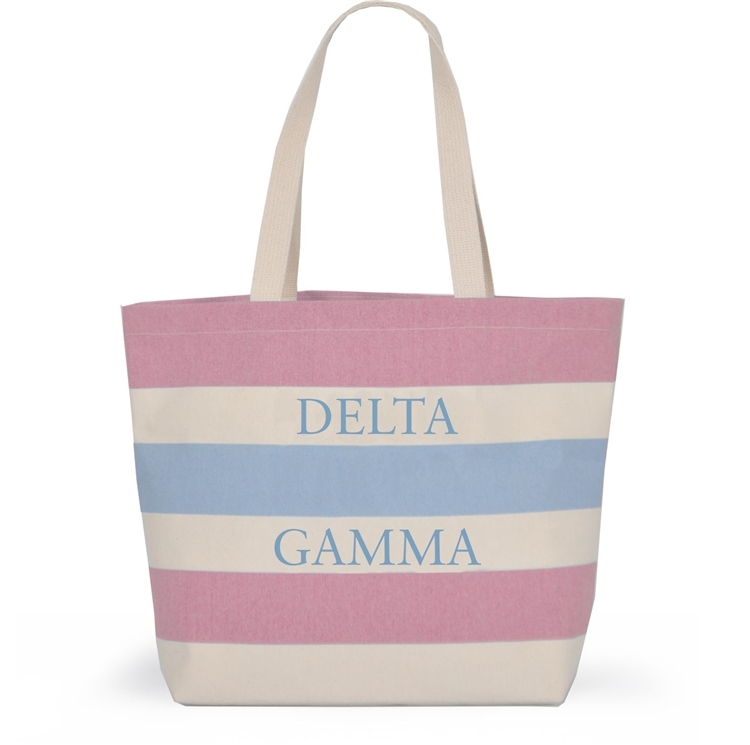 Delta Gamma Bid Day Striped Tote