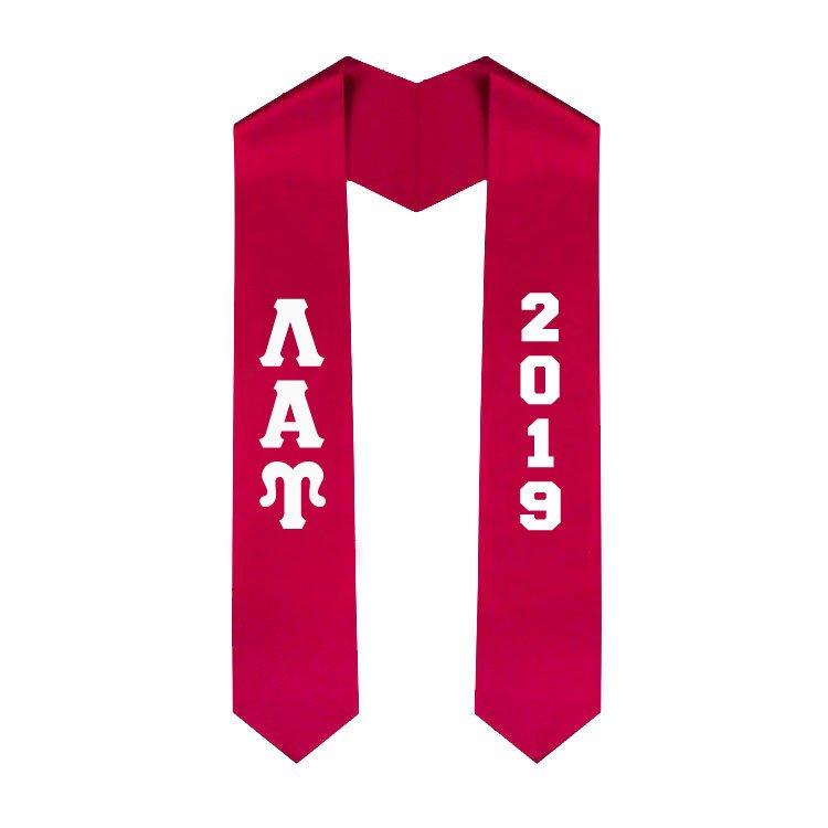 Lambda Alpha Upsilon Greek Lettered Graduation Sash Stole With Year - Best Value
