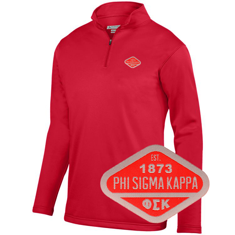 DISCOUNT-Phi Sigma Kappa Woven Emblem Wicking Fleece Pullover