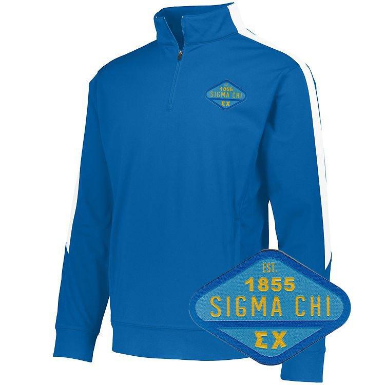 DISCOUNT-Sigma Chi Woven Emblem Greek Medalist Pullover