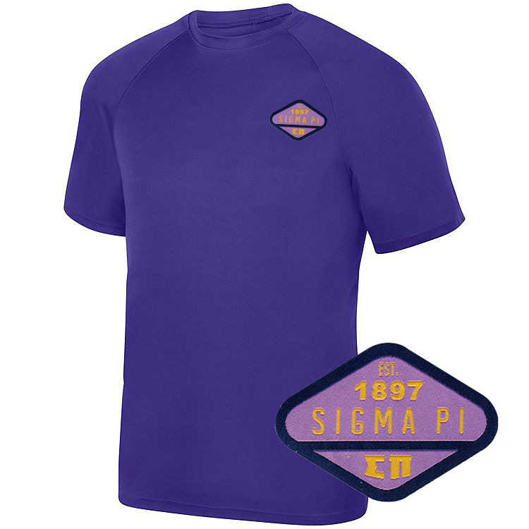 DISCOUNT-Sigma Pi Woven Emblem Greek Dry Fit Wicking Tee