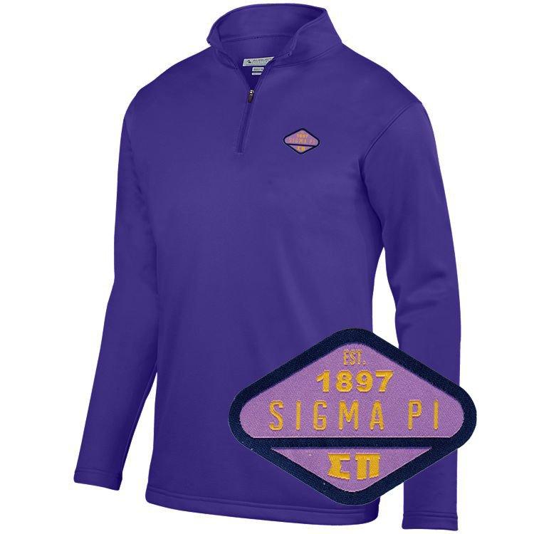 DISCOUNT-Sigma Pi Woven Emblem Wicking Fleece Pullover