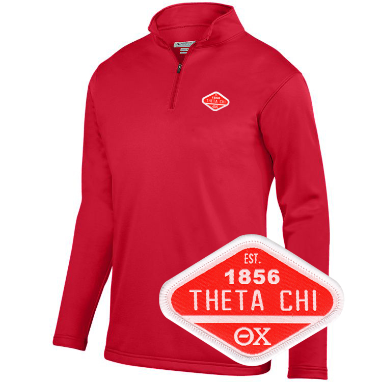 DISCOUNT-Theta Chi Woven Emblem Wicking Fleece Pullover