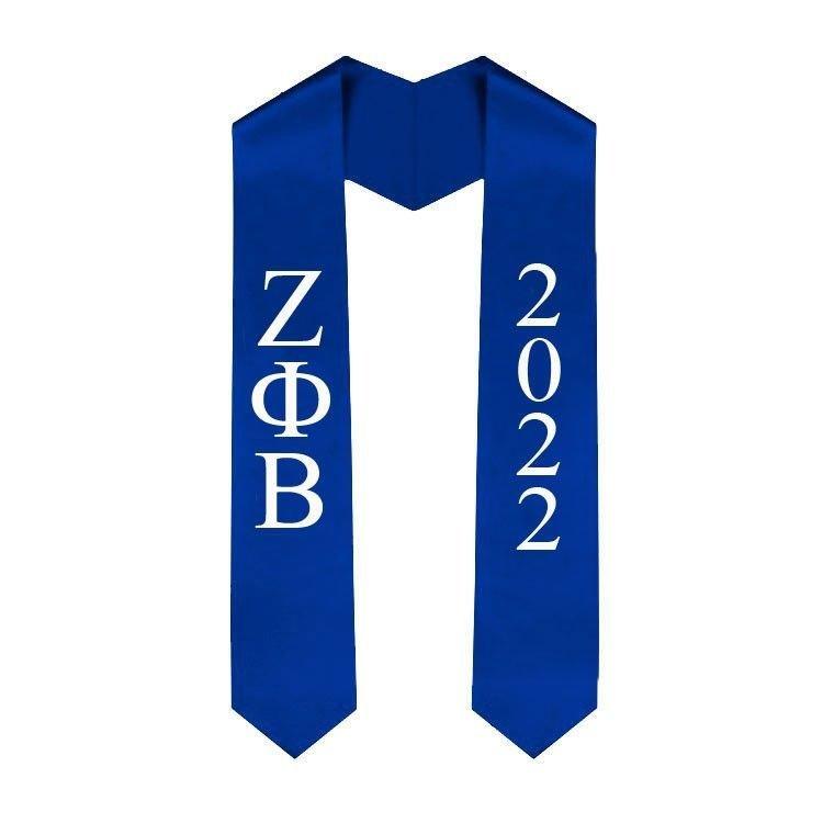 Zeta Phi Beta Greek Lettered Graduation Sash Stole With Year - Best Value