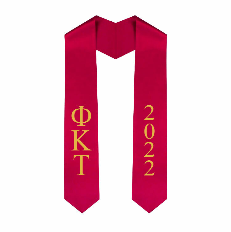 Phi Kappa Tau Greek Lettered Graduation Sash Stole With Year - Best Value