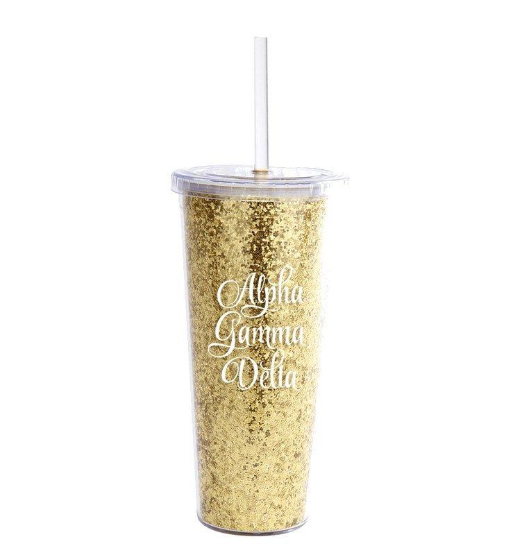 Alpha Gamma Delta Glitter Tumblers