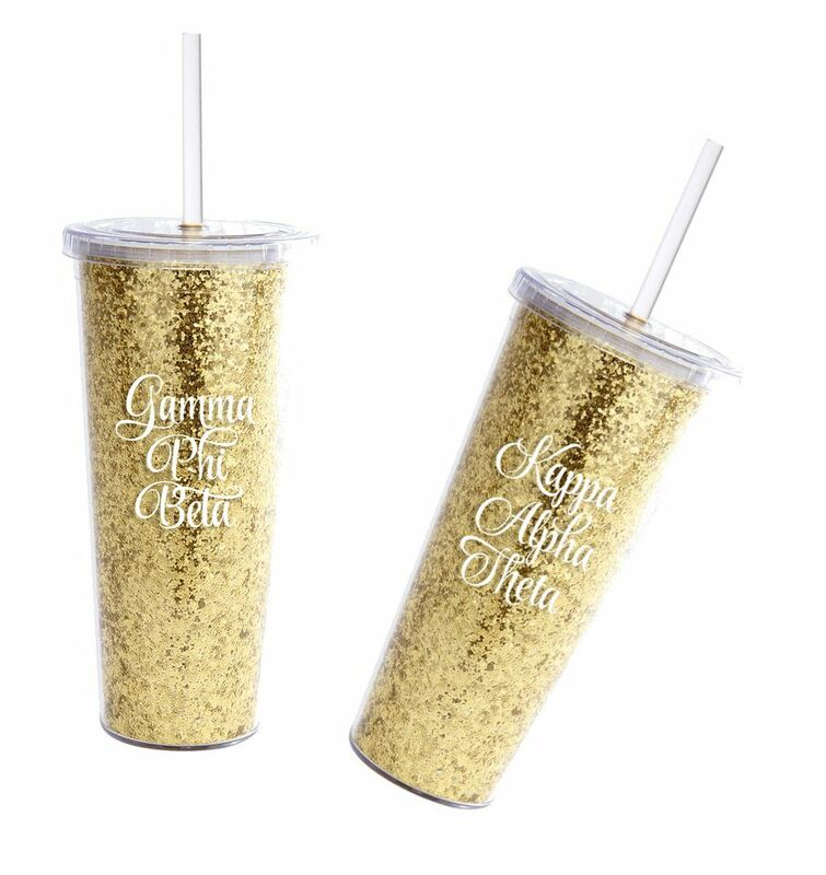 Sorority Gold Glitter Tumblers with Straws - 16 Ounces