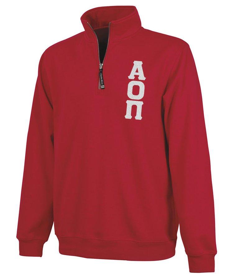 Alpha Omicron Pi Crosswind Quarter Zip Twill Lettered Sweatshirt