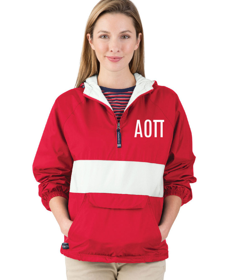 Alpha Omicron Pi Fabulous Font Pullover Anorak