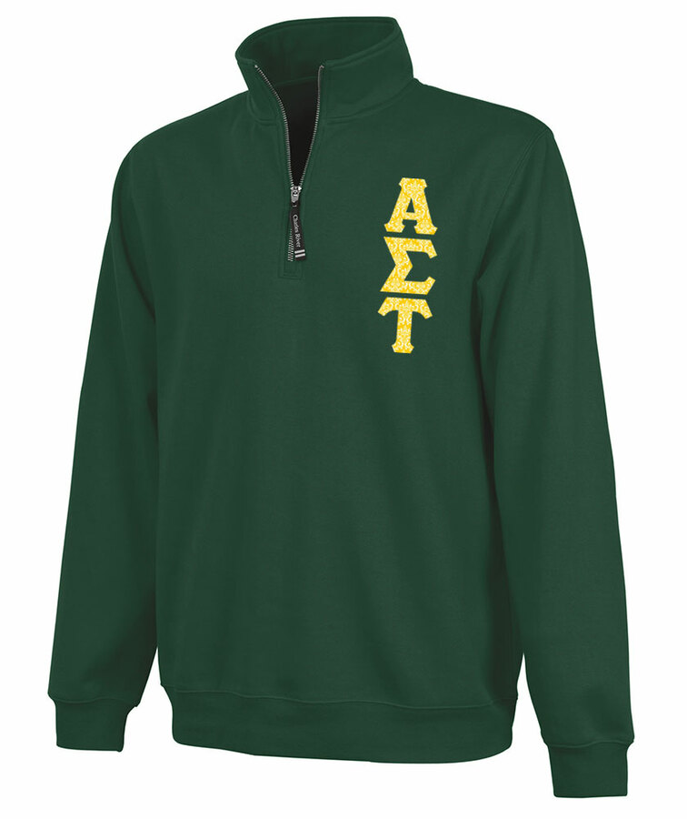 Alpha Sigma Tau Crosswind Quarter Zip Twill Lettered Sweatshirt