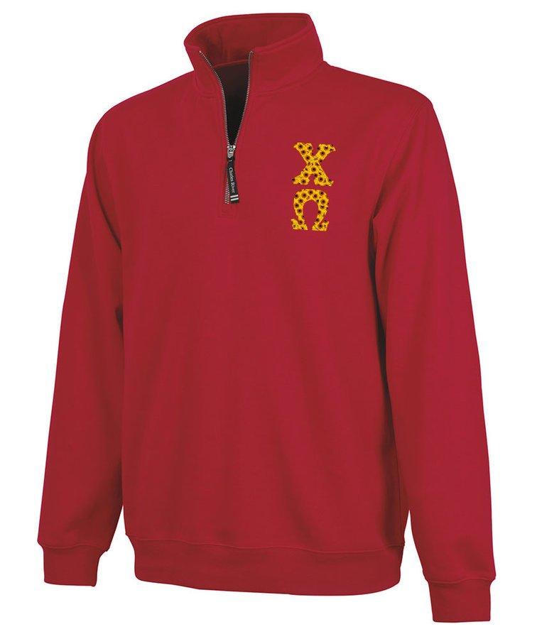 Chi Omega Crosswind Quarter Zip Twill Lettered Sweatshirt