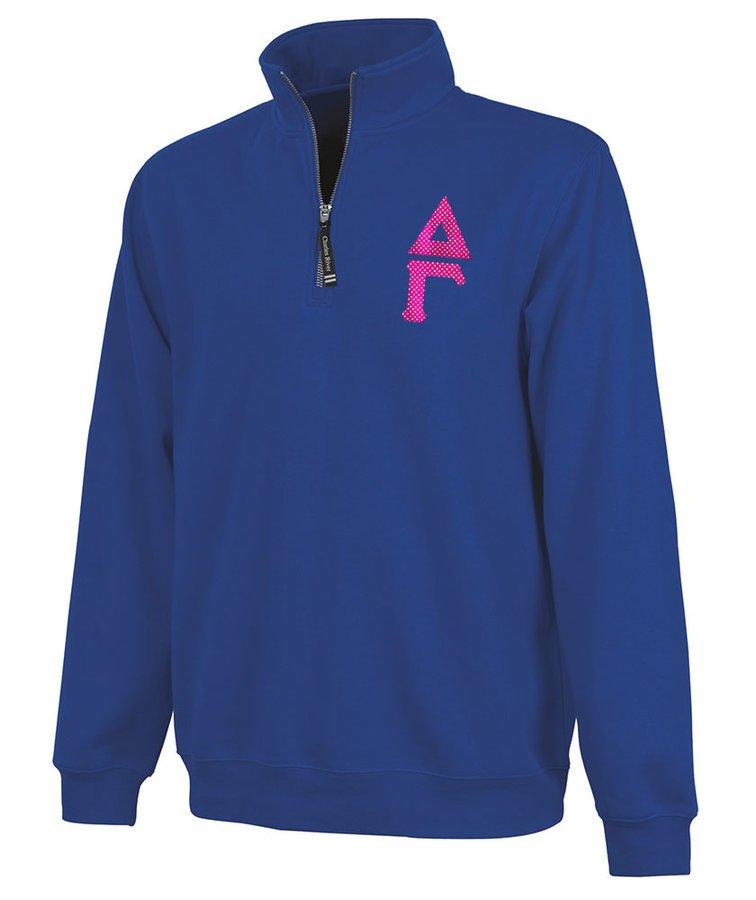 Delta Gamma Crosswind Quarter Zip Twill Lettered Sweatshirt