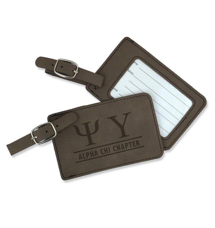 Psi Upsilon Leatherette Luggage Tag