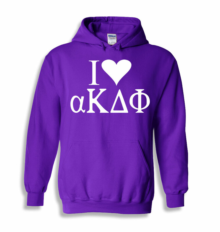 I Love alpha Kappa Delta Phi Hooded Sweatshirts