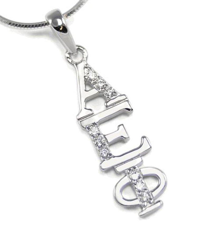 Alpha Epsilon Phi Sterling Silver Lavaliere set with Lab-Created Diamonds