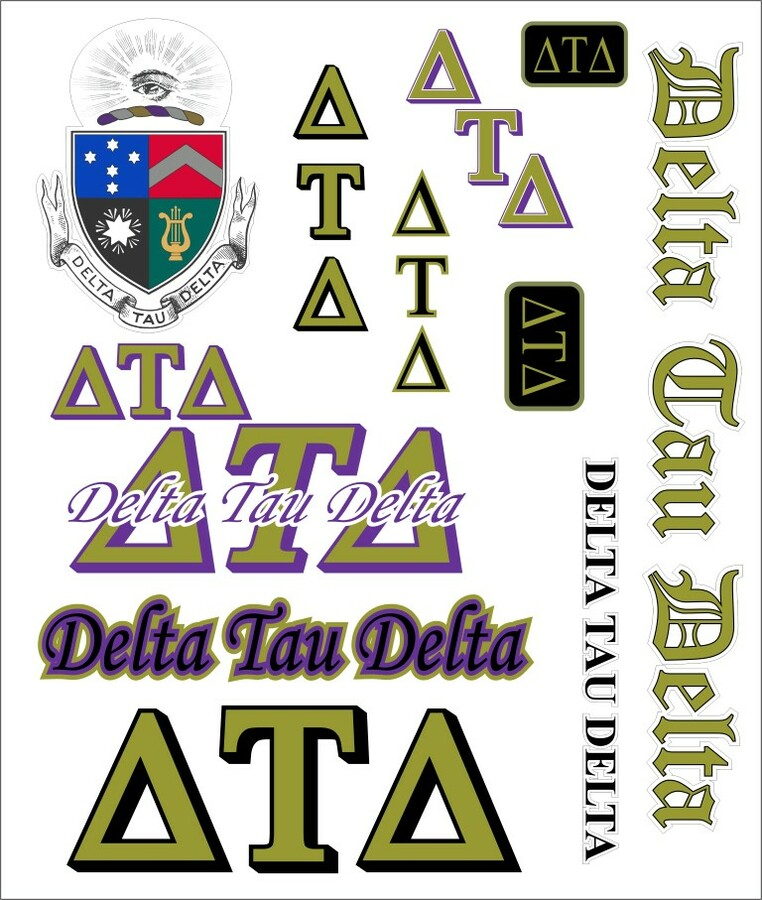 Delta Tau Delta Multi Greek Decal Sticker Sheet